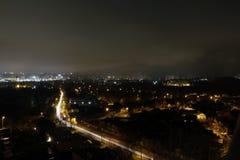 Natt och de ljusa ljusen Arkivfoton