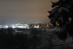 Natt och de ljusa ljusen Fotografering för Bildbyråer