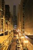 Natt och stad: tunnelbana i Chicago arkivfoton