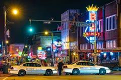 Natt på den Beale gatan, Memphis, TN Arkivfoto