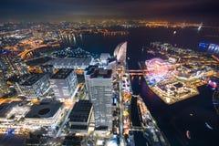 Natt på den Yokohama fjärden Royaltyfri Foto