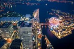 Natt på den Yokohama fjärden Arkivbild