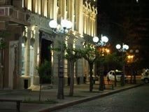 Natt på en upplyst gata Royaltyfri Bild