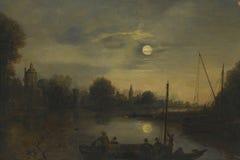Natt på floden Fotografering för Bildbyråer