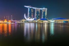 Natt på Marina Bay Royaltyfria Bilder