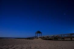 Natt på stränderna av Tarifa, Andalusia Royaltyfri Fotografi