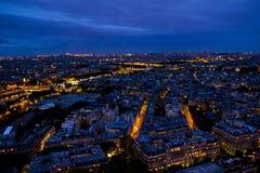 Natt Paris från Eiffeltorn Arkivfoto