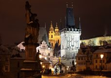 natt prague Royaltyfri Bild