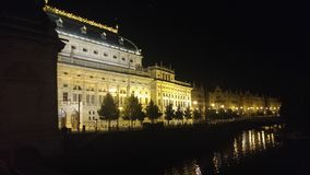 natt prague Royaltyfria Bilder