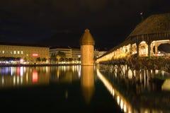 Natt sceniska Lucerne, Schweitz Royaltyfri Fotografi