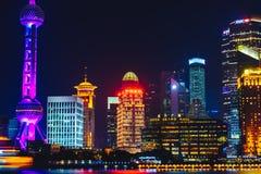 natt shanghai Arkivfoton