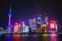 natt shanghai Royaltyfri Fotografi