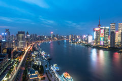 natt shanghai för broporslinnanpu Royaltyfri Bild