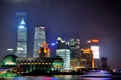 natt shanghai för porslin för affärsmitt ny Arkivfoton