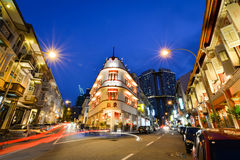 natt singapore Arkivbild