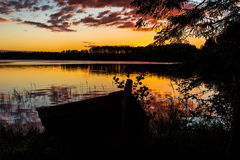 Natt sjö Royaltyfri Foto