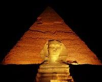 natt skjuten sphinx royaltyfria bilder