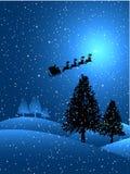 natt snöig santa royaltyfri illustrationer
