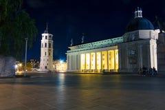 Natt som är cahtedral på Vilnius Arkivbild