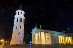 Natt som är cahtedral på Vilnius Arkivbilder