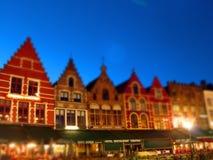 Natt som är scenary i Bruges, Belgien Fotografering för Bildbyråer