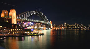 natt sydney för Australien brohamn Fotografering för Bildbyråer