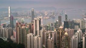 Natt till dagtimelapse av Hong Kong arkivfilmer