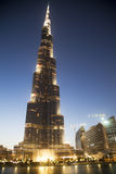 natt uae för burjdubai khalifa Arkivfoto