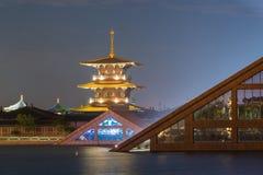 Natt-udde lampljus av Guang Fulin Park Royaltyfri Fotografi