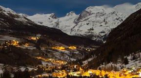 Natt under Monte Rosa, Italien Arkivbild