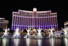 natt vegas för bellagio hotelllas Arkivbilder