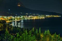 Natt vid havet arkivbilder