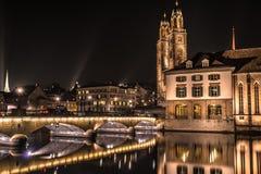Natt Zurich Royaltyfri Bild