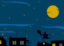 Nattbakgrund med en tjuv. stock illustrationer