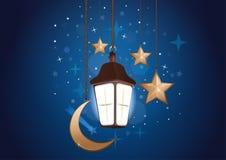 Nattbakgrund med månen, stjärnor och lyktan stock illustrationer