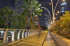Nattbana i Singapore Arkivbilder