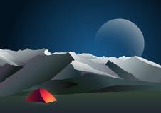 Nattberglandskap med tältet royaltyfri illustrationer