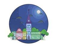 Nattcityscape i linjen konststil med månen, strars, träd och byggnader Arkivbild