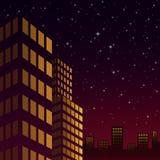 Nattcityscape på den färgrika skyen vektor illustrationer