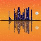 Nattcityscapeillustration med byggnader på ön Fullmånehimmel Royaltyfri Fotografi