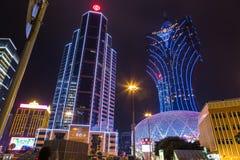 NattCityscapekasino i Macao Kina Royaltyfria Foton