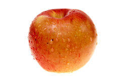 Natte appel die op wit wordt geïsoleerdî Royalty-vrije Stock Fotografie