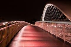Natte brug in regenachtige nacht in Krakau stock fotografie