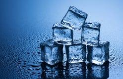 Natte ijsblokjes op blauwe achtergrond Royalty-vrije Stock Foto's