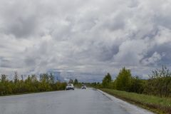 Natte landelijke weg, die in de afstand gaat Rond dicht struikgewas van bomen en struiken Bewolkte hemel royalty-vrije stock foto