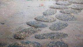 Natte oude stenen van voetpad in de regen stock videobeelden