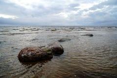 Natte rotsen op het strand in water Stock Foto