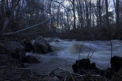 Natte stenen in de voorgrond, de lentevloed van een gewoonlijk kleine rivier in een bos in noordelijk Zweden Royalty-vrije Stock Foto