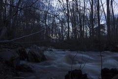 Natte stenen in de voorgrond, de lentevloed van een gewoonlijk kleine rivier in een bos in noordelijk Zweden Stock Fotografie