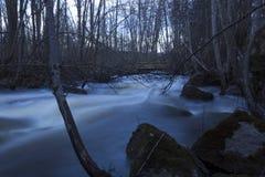 Natte stenen in de voorgrond, de lentevloed van een gewoonlijk kleine rivier in een bos in noordelijk Zweden Stock Afbeeldingen